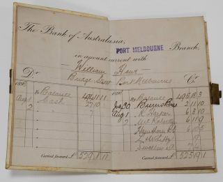 The Bank Of Australasia Pass Book For William Howe