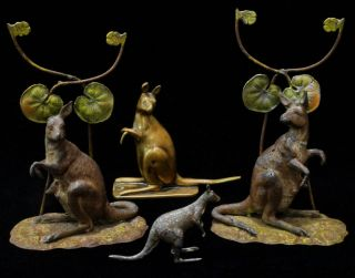 Four Kangaroo Figurines