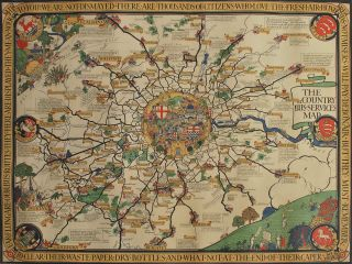 "The Country Bus Services Map [London]. MacDonald ""Max"" Gill, Brit"