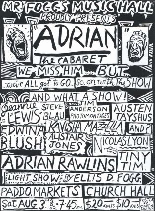 "Mr Fogg's Music Hall Proudly Presents ""Adrian"" The Cabaret. Martin Sharp, Aust."
