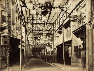 [Bonham Strand Within The Bamboo Supported Canopy, Hong Kong]. John Thomson, Scottish.