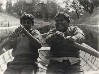 Cousins Ralph And Jim Richardson Boating On The Darling River