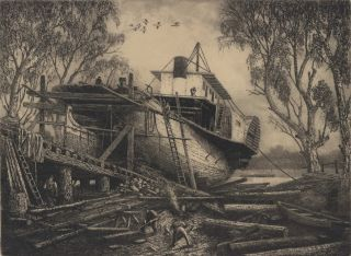 A Bush Shipyard [Paddle Steamer]. J C. Goodhart, Australian