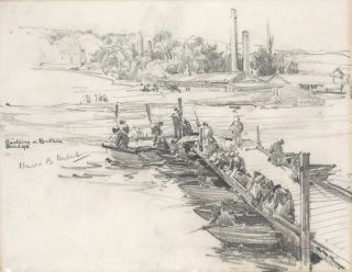 Building A Pontoon Bridge [WWII]. Harold B. Herbert, Aust