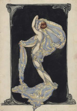 Art Nouveau Female With Billowing Fabric]. Margaret E. Campbell, Aust