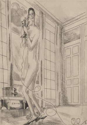 "Frontispiece For Paul Morand's ""Baton Rouge"" [Woman On Telephone]. Jean Emile Laboureur,..."