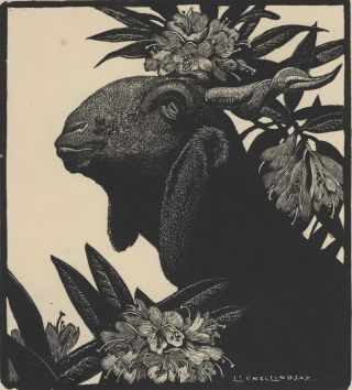 Goat And Rhododendron. Lionel Lindsay, Aust