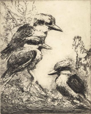 The Roost [Kookaburras]. Sydney Long, Aust.