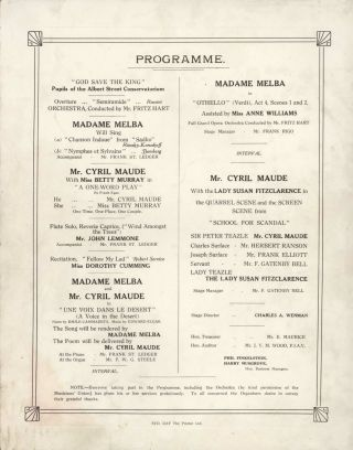 """""""Matinee"""" Organised By Madame Melba And Mr Cyril Maude"""