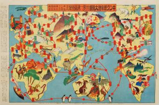 Japanese Sugoroku. Pictorial Map Of The World