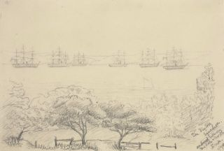 The Flying Squadron Anchored Between Middle And North Heads [Sydney Harbour]. Rosalie Ann Thorne,...