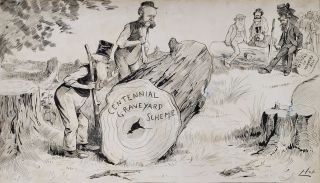 Reciprocal Log-rolling [Henry Parkes, Centennial Park]. Livingston Hopkins, 1846- 1927 Amer./Aust