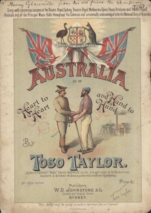'Australia, Or Heart To Heart And Hand To Hand'. Rev. Thomas Hilhouse Taylor, Toso, Aust