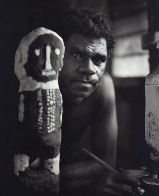 Neville Wommatakimmi [With Carved Figure]. Heide Smith, b.1937 German/Aust
