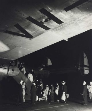 Passengers Boarding A Qantas Constellation Plane At Night]. Max Dupain, 1911–1992 Aust
