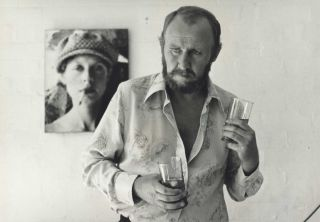 "Actor Bill Hunter On The Set Of ""In Search Of Anna"", With Photograph Of Judy Morris In..."