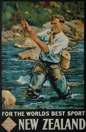 For The World's Best Sport, New Zealand [Angler Fishing]. Maurice Alec Poulton, 1909–1983 NZ