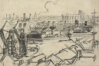 Glebe Island Wheat Silos From Pyrmont, NSW]. Robert Emerson Curtis, 1898–1996 Aust