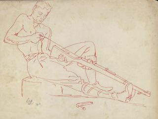 WWII Soldier Cleaning His Lee-Enfield .303 Rifle]. Robert Emerson Curtis, 1898–1996 Aust