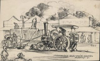 Removing Air Raid Shelter, Mackay, Qld. Robert Emerson Curtis, 1898–1996 Aust