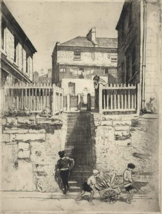 Steps Of 'The Sailor's Return', The Rocks, Sydney. Lionel Lindsay, 1874–1961 Aust