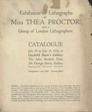Exhibition Of Lithographs By Miss Thea Proctor And A Group Of London Lithographers