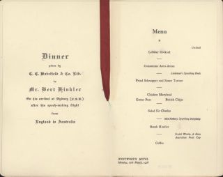 Dinner Given To Mr Bert Hinkler On His Arrival At Sydney