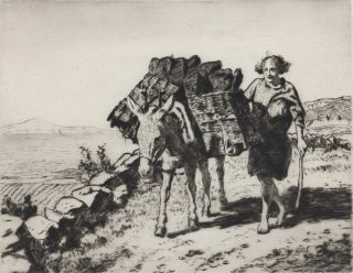 A Peat Gatherer, Connemarra (Bringing In The Turf, Malranny, West Ireland). Lionel Lindsay,...