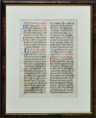 Book Of Hours Manuscript Page (Large Script