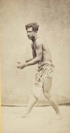 Polynesian Man Holding An Object, Possibly A Block Of Ice