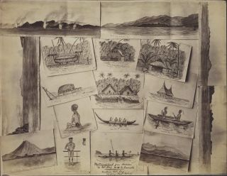 "Photographs Of Sketches Of Solomon Islands, Drawn Aboard HMS ""Emerald"""