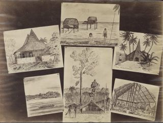 """Photographs Of Sketches Of Solomon Islands, Drawn Aboard HMS """"Emerald"""""""