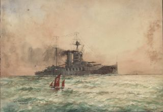 "HMS ""Warspite"". William Minshall Birchall, 1884–1941 Brit"