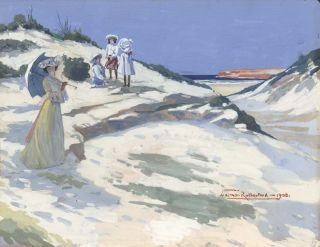 Beach Scene With Mother And Three Children]. Norman Rutherford, c1872–1941 Aust