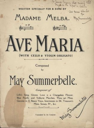 """Ave Maria"" Written Specially For And Sung By Madame Melba"" and ""Gavotte In D:..."
