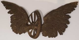 Winged Spoked Train Wheel Wall Emblem
