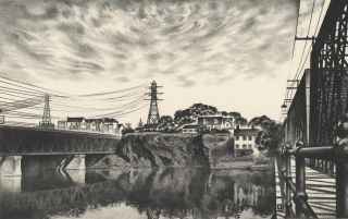 City On A Rock [Cohoes, NY, USA]. Louis Lozowick, 1892–1973 Amer
