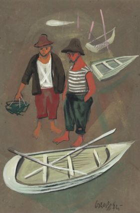 Two Fishermen With Rowboats]. William Gropper, 1897–1977 Amer